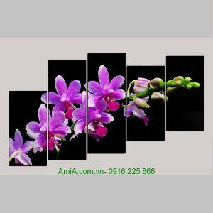 Tranh ghép bộ nhành hoa phong lan tím
