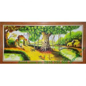 Tranh sơn dầu phong cảnh đẹp làng quê