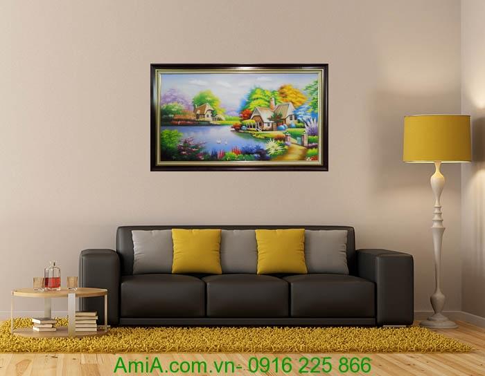 tranh treo phong khach ngoi nha hanh phuc