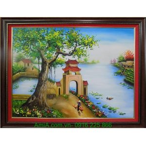 Tranh sơn dầu phong cảnh quê hương