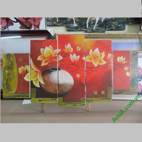 Tranh sơn dầu ghép bộ bình hoa sen đất