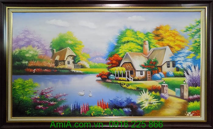 tranh phong canh ngoi nha hanh phuc ve son dau kho lon