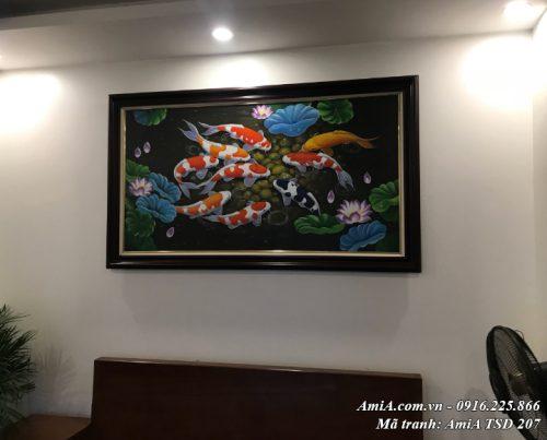 Bức tranh cá chép vẽ sơn dầu mã 207 thực tế