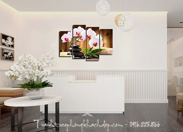 Hinh anh tranh trang tri spa hoa phong lan trang