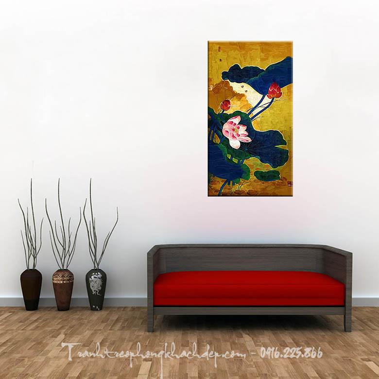 Hinh anh tranh treo phong khach dep hoa sen in vai canvas