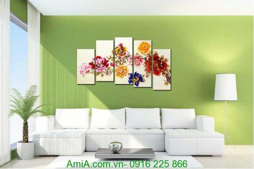 tranh treo phong khach hoa mau don