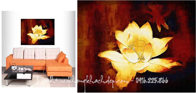 Hinh anh tranh in vai canvas dep hoa sen truu tuong