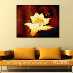 Hinh anh tranh vai canvas dep phong khach hoa sen truu tuong AmiA