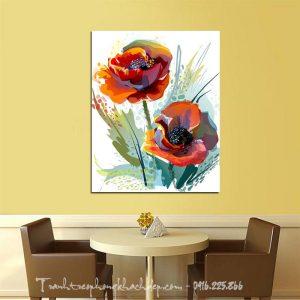 Hinh anh hoa poppy in vai canvas lam tranh trang tri phong an nha hang dep mat an tuong