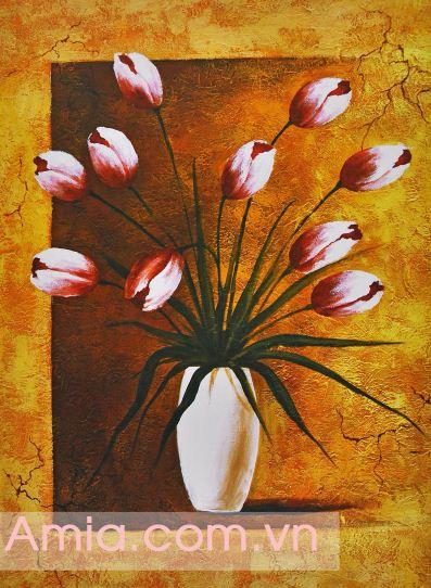 Mua tranh canvas binh hoa tulip nghe thuat tai Sieu thi tranh Amia