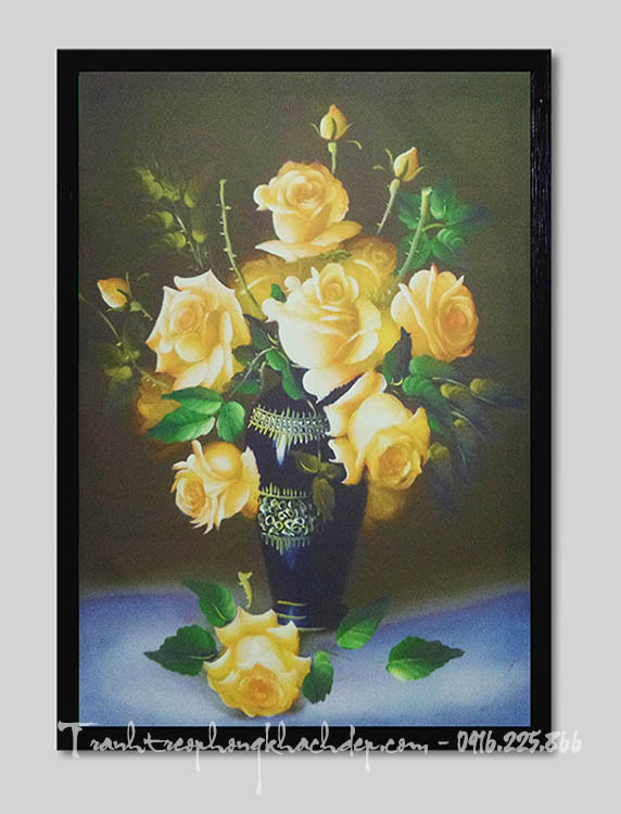 Hinh anh tranh binh hoa hong trang tri phong khach AmiA