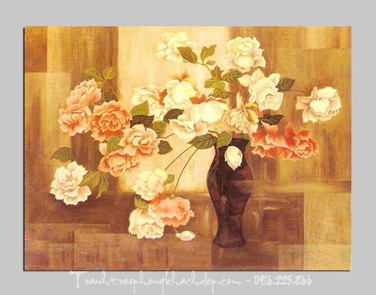 Hinh anh mau tranh canvas binh hoa hong dep AmiA