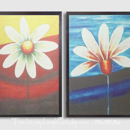 Hinh anh tranh canvas ghep bo hoa la 2 tam AmiA