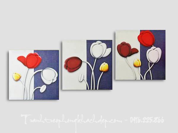 Hinh anh tranh canvas ghep bo hoa tulip trang tri AmiA