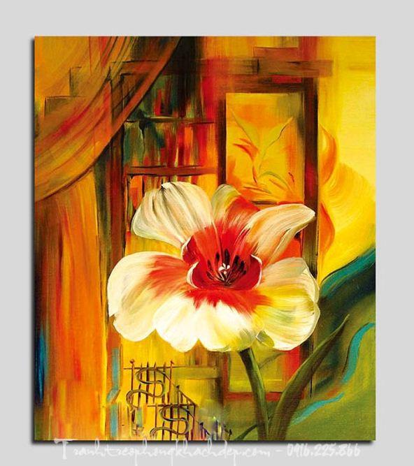 Hinh anh tranh canvas hoa nghe thuat trang tri phong khach phong an