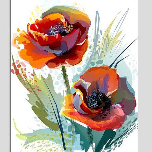 Hinh anh tranh canvas hoa poppy trang tri phong an nha hang