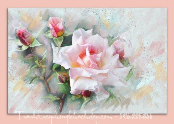 Hinh anh tranh canvas nghe thuat nu hoa hong AmiA