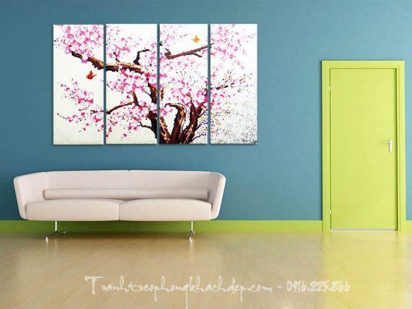Hinh anh tranh canvas trang tri nha hang hoa dao mua Xuan