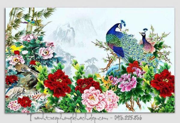 Hinh anh tranh chim cong hoa mau don treo phong khach dep