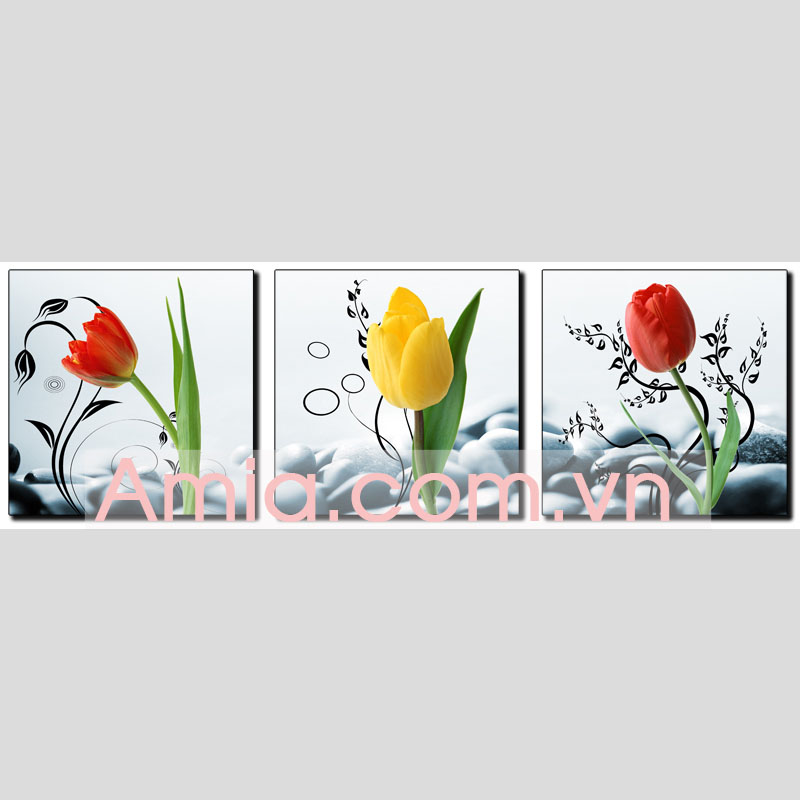 Hinh anh tranh ghep bo treo phong khach hoa tulip AmiA