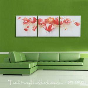 Hinh anh tranh hoa poppy 3 tamduoc in tren vai canvas hoac in ep go deu duoc