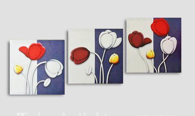 Hinh anh mau tranh khung ghep bo canvas hoa tulip