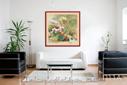 Hinh anh tranh nghe thuat hoa la in vai canvas treo phong khach dep