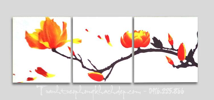 Hinh anh bo tranh nhanh hoa moc lan in canvas ghep bo AmiA
