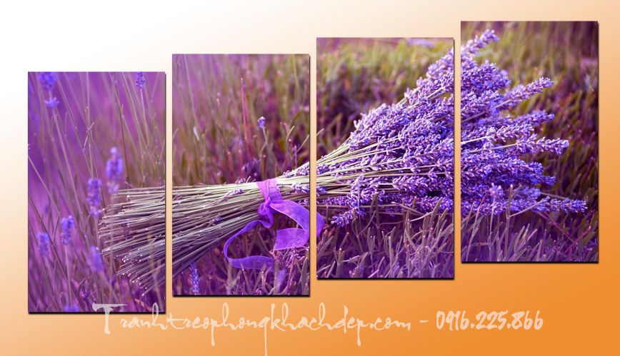 Hinh anh mau tranh hoa lavender oai huong ghep bo 4 tam