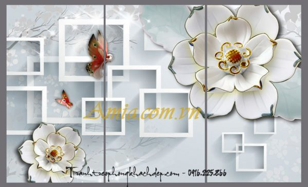tranh 3 d hoa buom treo phong khach