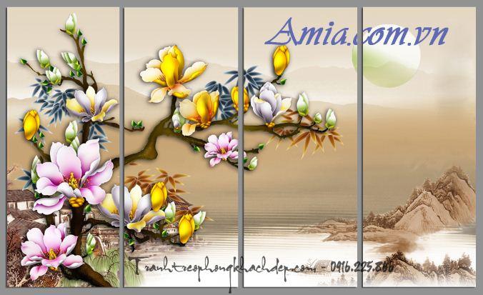 tranh 3d hoa moc lan