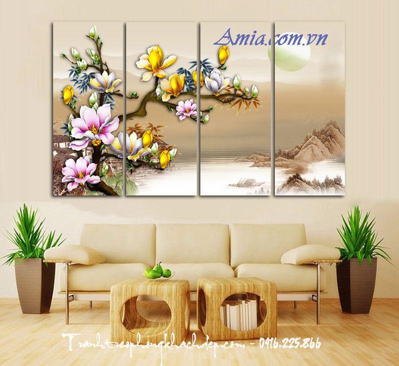 tranh treo tuong 3d hoa moc lan