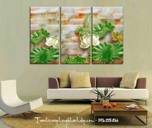 tranh hoa sen in 3d treo phong khach