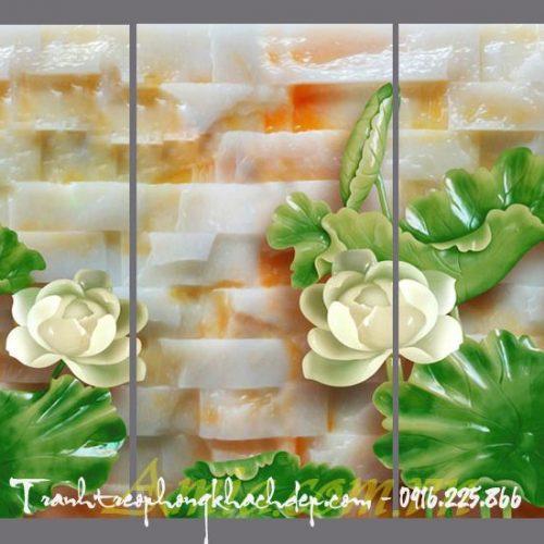 tranh 3d hoa sen trang
