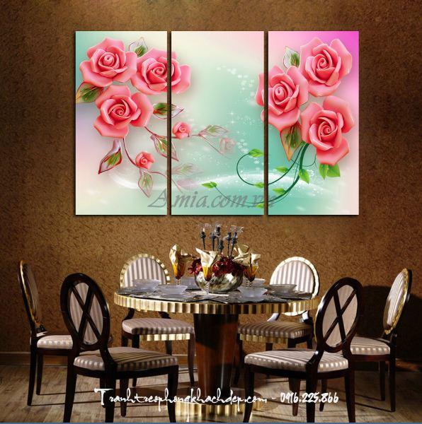 tranh hoa hong in 3d ghép bo 3 tam
