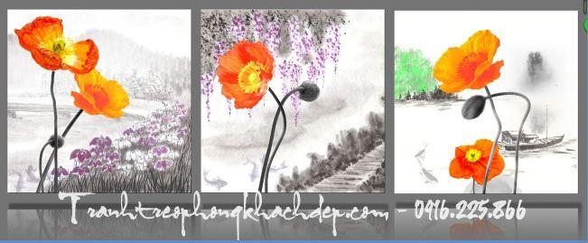 tranh hoa popy dep