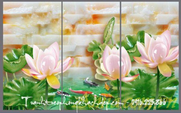 tranh hoa sen in tren da ghep bo 3 tam