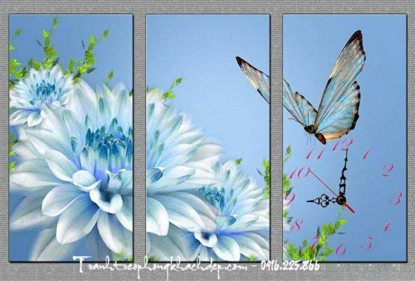 tranh hoa thuoc duoc xanh treo phong khach
