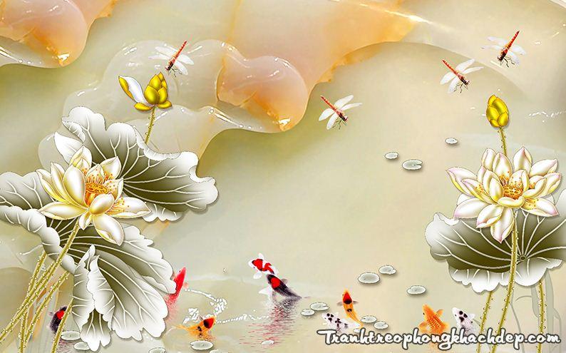 Tranh 3D gia ngoc ca chep hoa sen