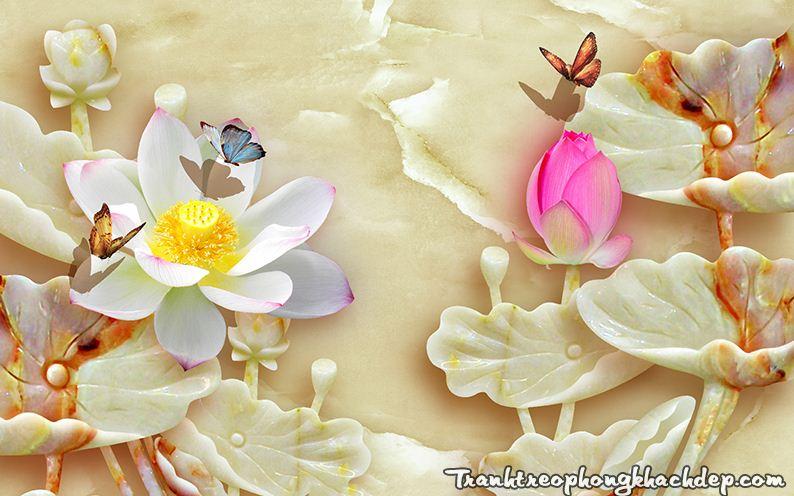 Tranh hoa sen 3D gia ngoc treo tuong phong thuy