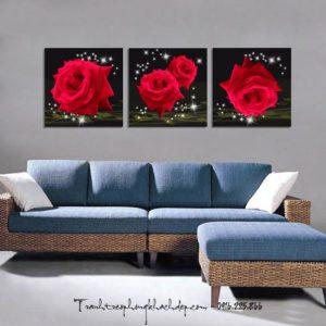 tranh treo tuong hoa hong ghep bo