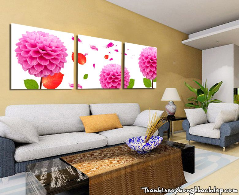 Bo tranh hoa cuc thuoc duoc treo tuong phong khach dep AmiA