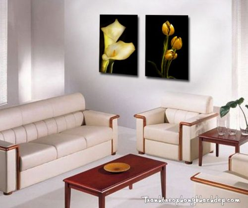 Hình anh tranh hoa la treo tuong phong khach ghep bo 2 tam AmiA