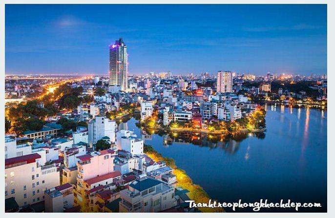 Tranh ho Hoang Cau boi phong canh thanh pho dep luc len den