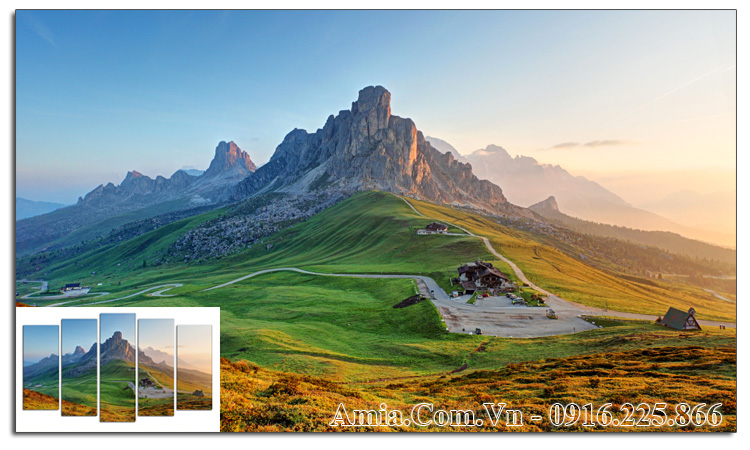 Tranh đồi núi AmiA 1060 phong cảnh đẹp treo phòng khách