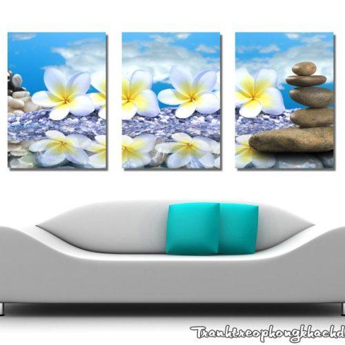 Bo tranh ghep hoa tren da trang tri phong khach dep