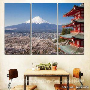 Tranh 3 tấm núi phú sỹ nhật bản AmiA 2008