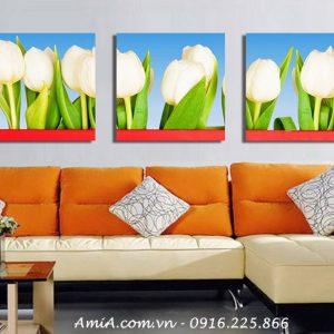 Tranh ghep hoa tulip treo tuong phong khach dep AmiA