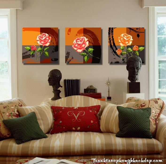 Tranh hoa hong vintage treo phong khach phong ngu dep AmiA