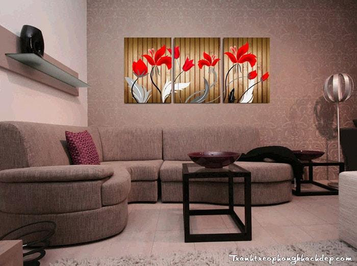 Tranh hoa treo phong khach bo 3 tam AmiA